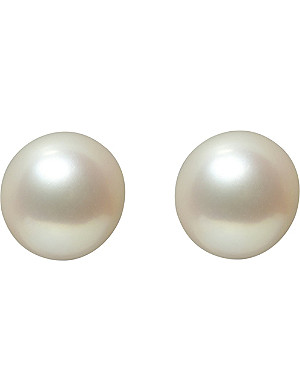 ANNOUSHKA Classic 8mm pearl and 18ct white-gold stud earrings