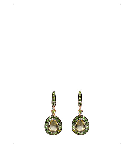 ANNOUSHKA Dusty 18ct rose gold, olive quartz and diamond earrings
