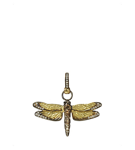 ANNOUSHKA Dragonfly 18ct yellow-gold and diamond pendant