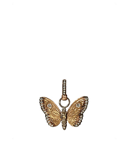 ANNOUSHKA 18ct yellow gold and diamond butterfly amulet