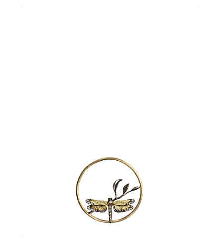 ANNOUSHKA Hoopla dragonfly diamond 18ct rose-gold pendant