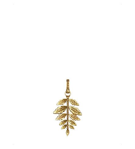 ANNOUSHKA 18ct yellow-gold and diamond fern amulet