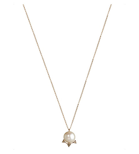 ANNOUSHKA Diamonds & Pearls 18ct rose-gold pendant