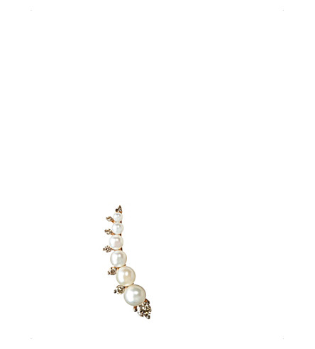 ANNOUSHKA Diamonds & Pearls 18ct rose-gold left ear pin