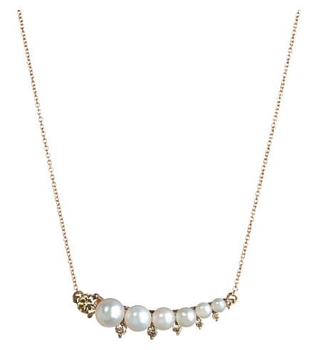ANNOUSHKA 18ct rose gold, freshwater pearls and brown diamond necklace