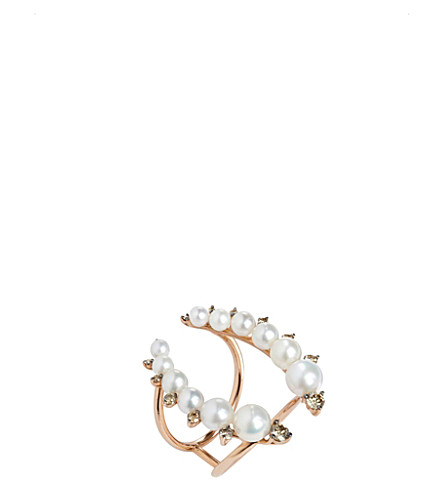 ANNOUSHKA Diamonds & Pearls 18ct rose-gold, diamond and pearl ring