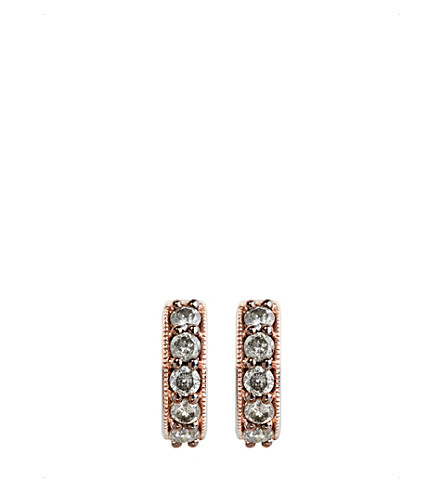 ANNOUSHKA 18ct rose gold and grey diamond hoop earrings