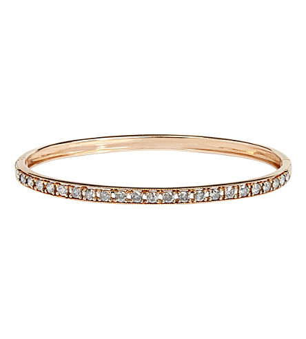 ANNOUSHKA 18ct rose gold and grey diamond bangle