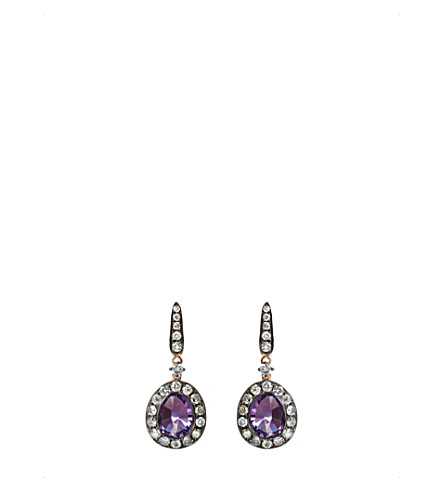 ANNOUSHKA 18ct rose gold amethyst and grey diamond earrings