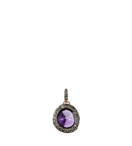ANNOUSHKA 18ct rose gold amethyst and grey diamond pendant
