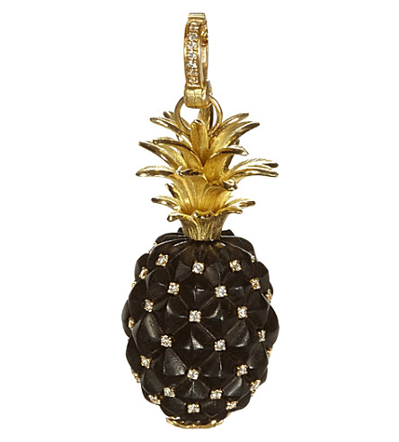 ANNOUSHKA 18ct yellow gold ebony and diamond pineapple amulet