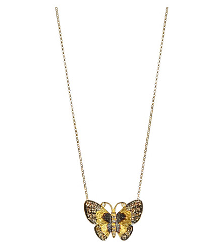 ANNOUSHKA 18ct gold and brown diamond butterfly necklace
