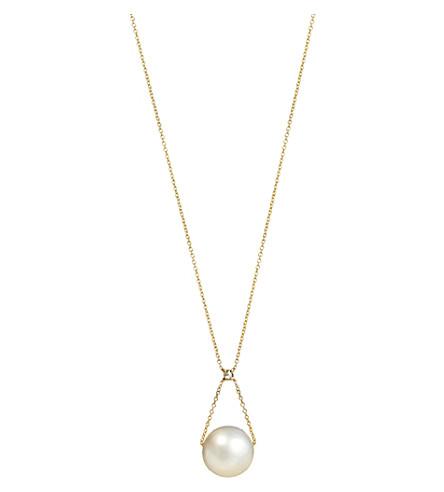 ANNOUSHKA Diamond and pearl 18ct gold pendant