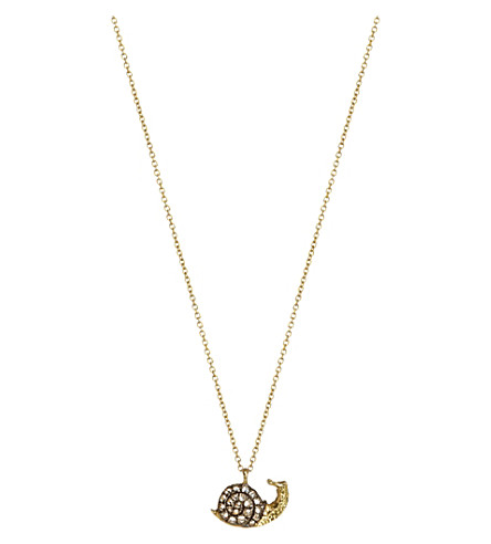 ANNOUSHKA 18ct yellow-gold and diamond snail pendant