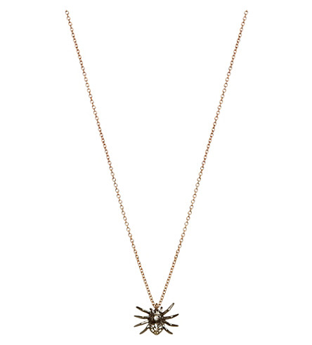 ANNOUSHKA 18ct rose gold and diamond spider pendant