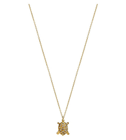 ANNOUSHKA 18ct yellow-gold and diamond turtle pendant