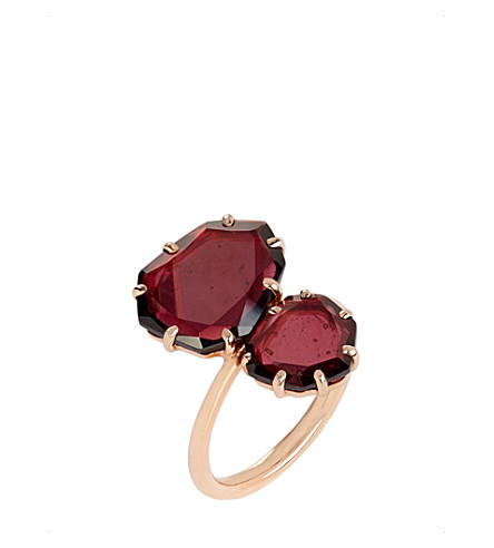ANNOUSHKA 18ct rose gold and garnet shard ring