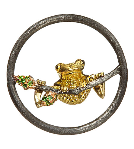 ANNOUSHKA 18ct white gold, yellow gold and tsavorite garnet frog hoopla