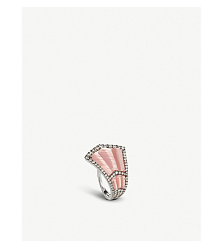 ANNOUSHKA Flamenco 18ct white-gold, diamond and Mother of Pearl ring