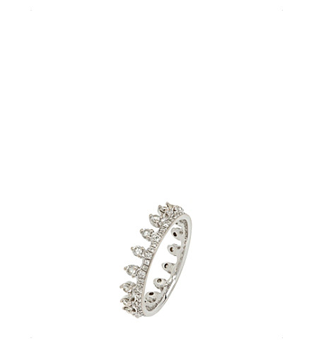 ANNOUSHKA 18ct white gold and diamond Crown ring