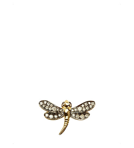 ANNOUSHKA Love diamonds dragonfly left earring
