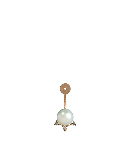 ANNOUSHKA 18ct rose gold, freshwater pearls and brown diamond earring back