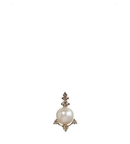 ANNOUSHKA 18ct rose gold, freshwater pearls and brown diamond stud earring