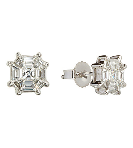 ANNOUSHKA Pavilion 18ct white-gold and diamond stud earrings