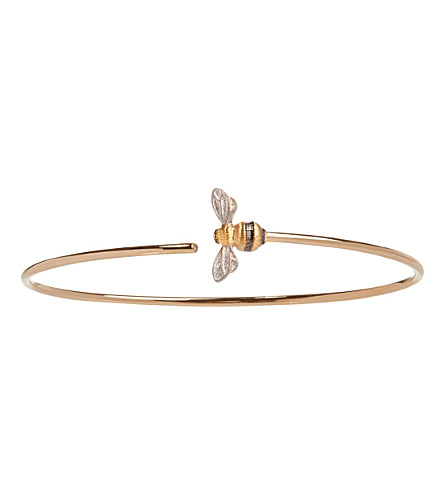ANNOUSHKA Bee 18ct yellow-gold and diamond bangle