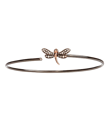 ANNOUSHKA Dragonfly 18ct yellow-gold and diamond bangle