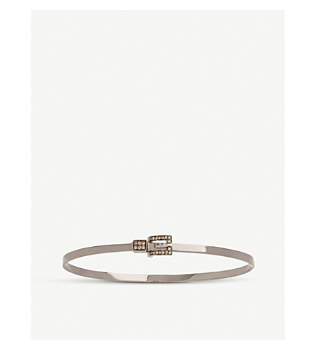 ANNOUSHKA 18ct white-gold diamond belt bangle