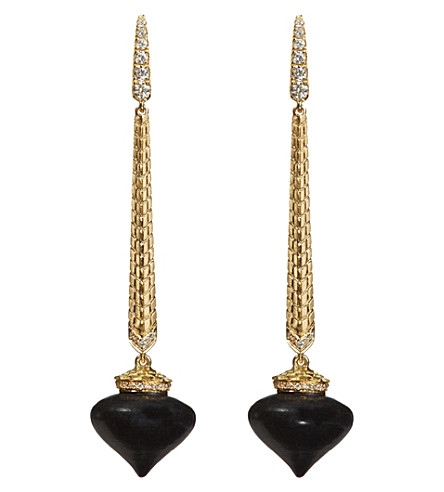 ANNOUSHKA Touch Wood 18ct yellow gold, diamond and ebony drop earrings