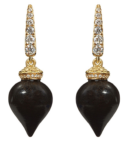 ANNOUSHKA Touch Wood 18ct yellow gold, diamond and ebony earrings