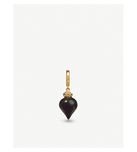 ANNOUSHKA Touch Wood 18ct yellow gold, diamond and ebony charm