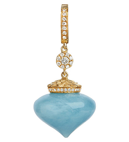 ANNOUSHKA Touch Wood 18ct yellow gold, diamond and aquamarine charm