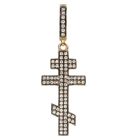 ANNOUSHKA Touch Wood 18ct yellow gold and diamond cross charm