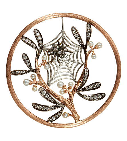 ANNOUSHKA Hoopla 18ct rose-gold, pearl and diamond spider web pendant