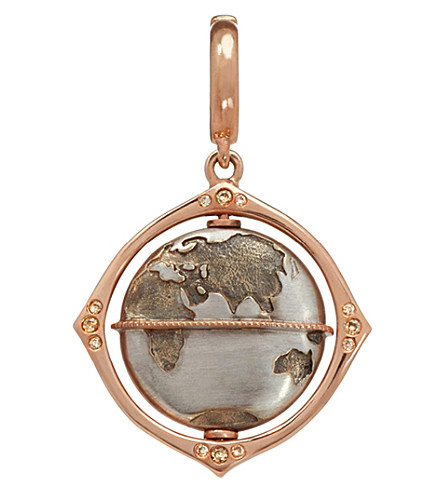 ANNOUSHKA Mythology globe 18ct rose-gold and diamond charm