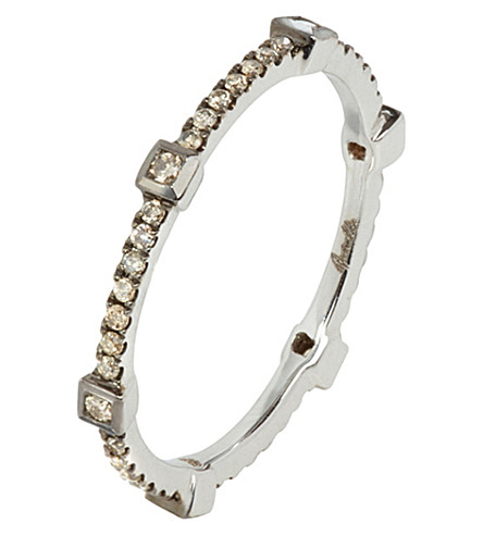 ANNOUSHKA Pavilion brown 18ct white-gold and diamond ring