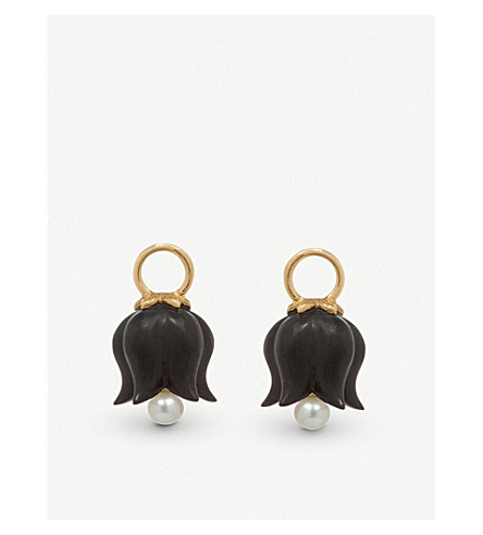 ANNOUSHKA 18ct yellow gold, ebony and pearl earring drops