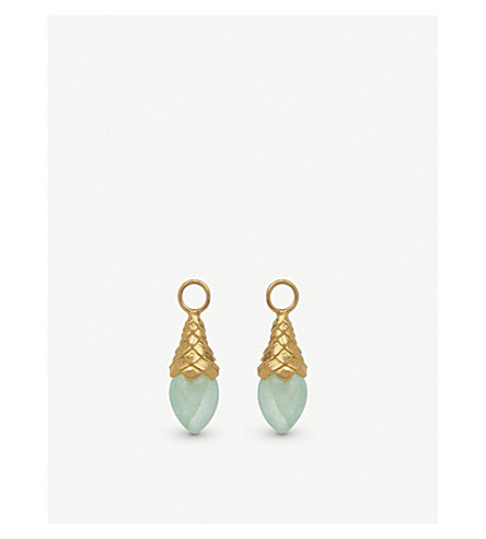 ANNOUSHKA 18ct yellow gold and jade earring drops