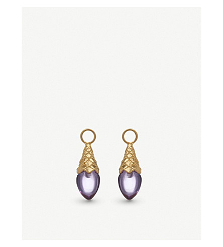 ANNOUSHKA 18ct yellow gold and amethyst earring drops