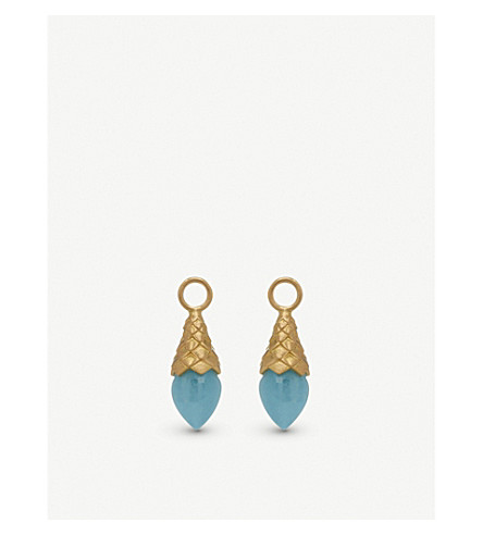 ANNOUSHKA 18ct yellow gold and aquamarine earring drops