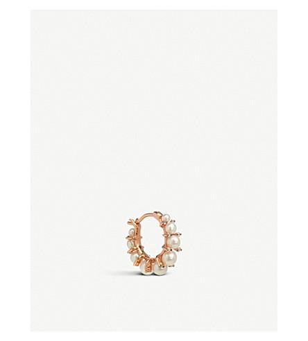 ANNOUSHKA Diamonds & Pearls 18ct rose-gold single hoop earring