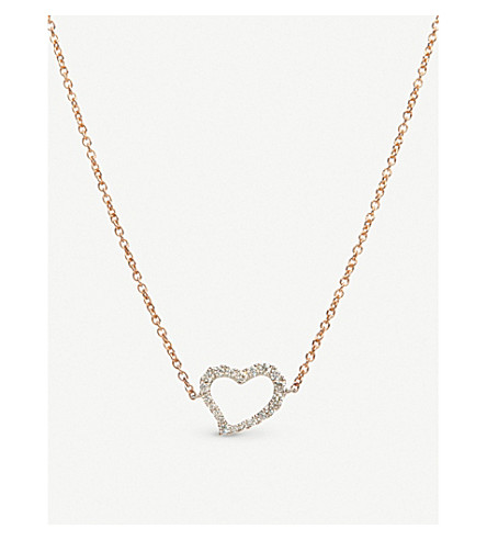 ANNOUSHKA Heart Love Diamonds 18ct bi-gold and diamond necklace