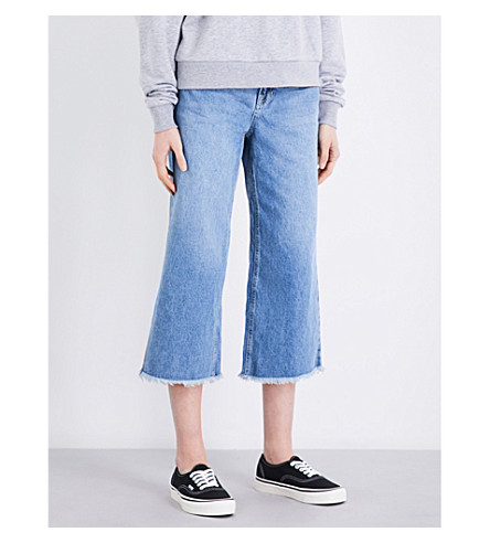 TOPSHOP Awkward straight cropped high-rise jeans (Blue+green