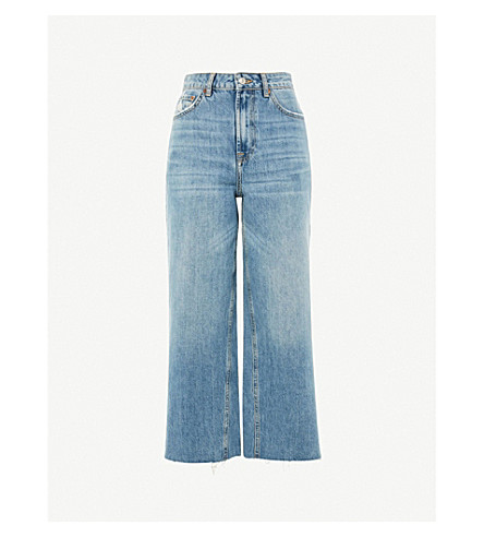 TOPSHOP Awkward wide-leg cropped high-rise jeans (Blue+green