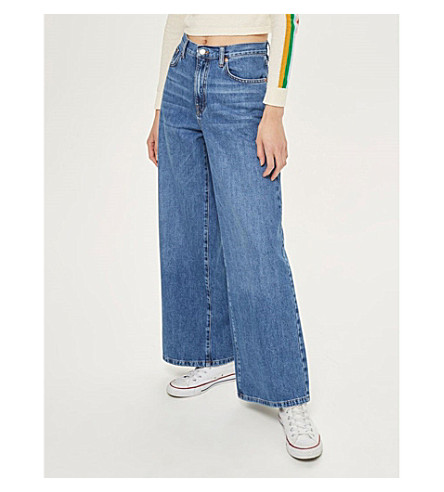 TOPSHOP Wide-leg high-rise jeans (Mid+stone