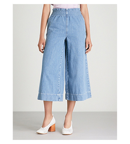 TOPSHOP 宽九分款高腰牛仔裤 (漂白剂 + 牛仔布