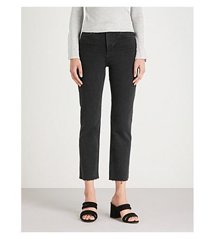 TOPSHOP de altura Jeans lavados negros gran rectos 1rnZUO1